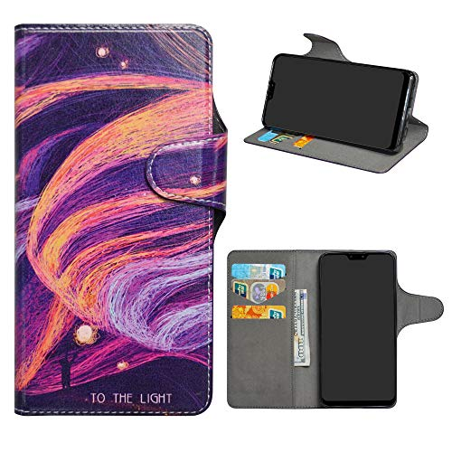 Asus Zenfone Max Pro (M2) Leder hülle,HHDY Painted Muster Wallet Handyhülle mit Kartenfächer/Standfunktion Hülle Cover für Asus Zenfone Max Pro (M2) ZB631KL,Brilliant Purple