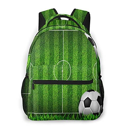 Multifuncional Casual Mochila,Zona de juegos de fútbol de campo de hierba verde con la estrategia de rayas de esquema de pelo,Paquete de Hombro Doble Bolsa de Deporte de Viaje Computadoras Portátiles