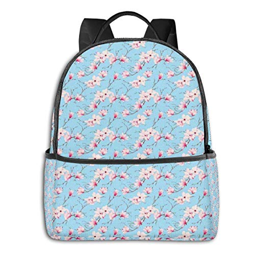 Sac d'école Double Black Backpacks, Casual Randonnée Travel Daypack 12 '5' 14.5 'LWH Spring Season Flourishing Branches Tranquil Idyllic Delicate Nature
