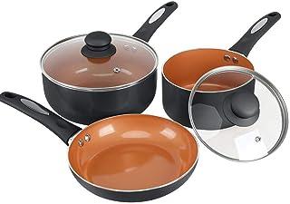 FGY 5 Pieces Copper Pots Pans Set Nonstick Cookware Set with Induction Bottom, 8 inch Fry Pan, 1 Quart & 2 Quart Sauce Pan...