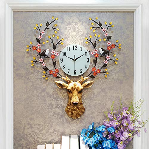 """KINBEDY Luxury Large Crystal 28""""X 24"""" Bohemian Cow Metal Rustic Wall Clock with Silent Movement 10"""" Metal Dial Large Big Fancy Decorative Clock for Living Room, Bedroom"""