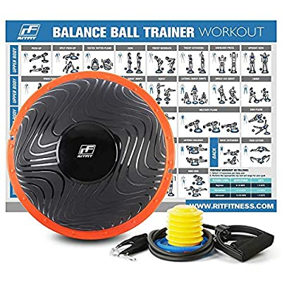 RitFit Balance Ball Trainer for Yoga,Fitness,Strength Exercise with Air Pump, Resistance Bands and Free Exercise Wall Chart