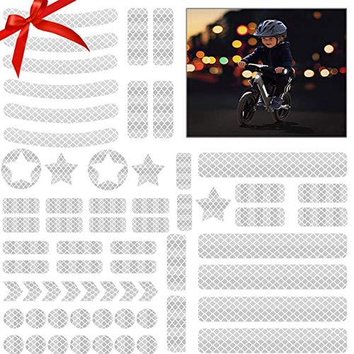 JIASHA 42 Stück Reflektoren Aufkleber Sticker Reflexfolie Set zur Sicherungs-Markierung von Kinderwagen, Fahrrädern, Helmen mit Stickern (Silber)