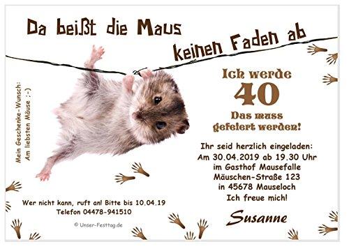 Unser-Festtag Lustige Einladungskarte Maus am Faden zum Geburtstag Erwachsene, Mann Frau - für jedes Alter - 30 Karten