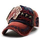 TIEDAN Visera Sombreros para Hombres y Mujeres Remaches Letras Casuales Gorras de béisbol Gorra Exterior Antigua Ajustable-Vino Rojo
