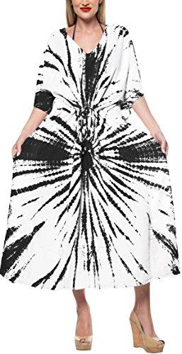 LA LEELA Mujeres Caftán Rayón túnica Tie Dye Kimono Libre tamaño Largo Maxi Vestido de Fiesta para Loungewear Vacaciones Ropa de Dormir Playa Todos los días Cubrir Vestidos Rosa_X932