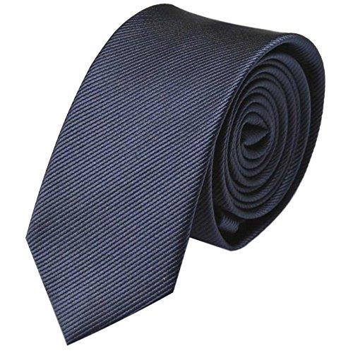 GASSANI Krawatte 8cm Breite gestreift | Dunkelblaue Rips Herrenkrawatte zum Sakko | Schlips Binder einfarbig Blau mit feinen Streifen