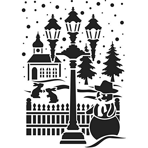 Ideen mit Herz Laser-Kunststoff-Schablone | Fenster-Schablonen | DIN A4 | Weihnachten & Winter | ideal für Wandgestaltung, Textilien, Papier, Fensterbilder selber gestalten (Schneemann & Laterne)