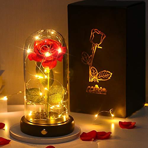 Rosa eterna en cúpula de cristal, CGBOOM Base de madera para decorar,lámparas LED para decoración del hogar, boda, Navidad, San Valentín, regalo