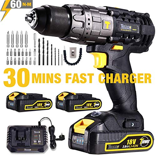 pas cher un bon Cordless drill / driver, 30 minute TECCPO quick charger (60 Nm), 2 x 2.0 Ah 18 V battery, with drill …