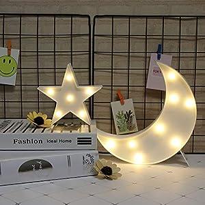 GUOCHENG Lovely Moon&Star Light Set Battery Operated LED Star Marquee Light Sign Decorative Moon Bedside Lamps for Kids Children Bedroom Nursery, Baby Standing Night Light(White Moon&White Star)