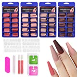Allstarry 400pcs Matte Press on Nails Extra Long Ballerina Coffin Fake Nails Acrylic Artificial Nails Red Pink Full Cover Colorful Nails with Box Nail Accessories for Women and Girls