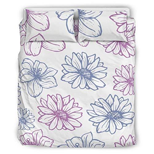 Conjuntos Retro 3 Piezas Almohada Flores Suave Lenos De Estilo Europeo De Color Negro Decorativo Cama Almohada Conjunto Blanco 229x229cm
