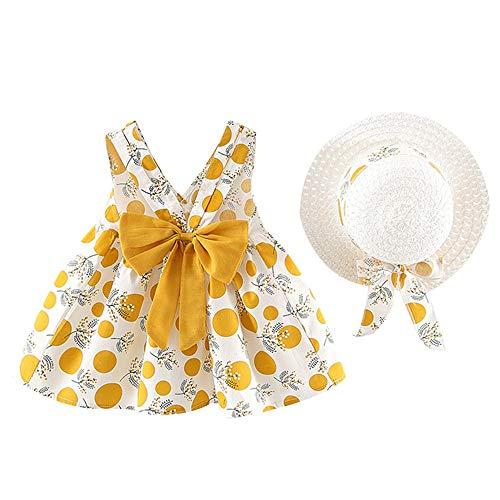 heavKin-Clothes 6 Months-3 Years Children's Kids Baby Girls Summer Sleeveless Sling Wave Point Bow-Knot Printed Dress Princess Dress + Straw Hat (Yellow, 6-12 Months)