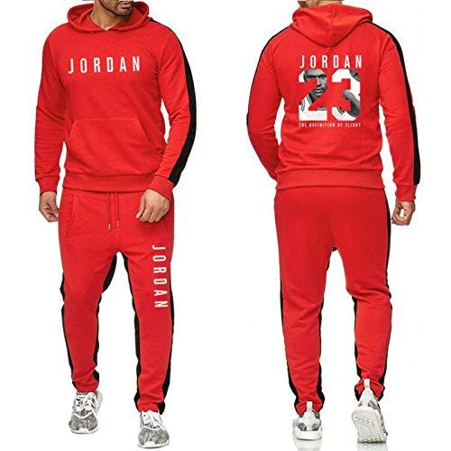 XGMJ Jordania 23 # - Conjunto de chándal para hombre y mujer, 2 piezas, estilo casual, para correr, ropa de entrenamiento, color rojo y XXL