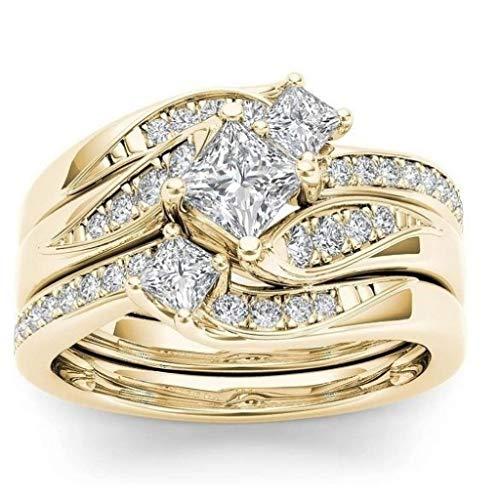 Janly - Anillo de diamantes de oro rosa para mujer, color blanco natural, romántico, para boda, día de San Valentín, color, talla L