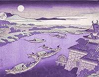 ArtVerse HOK062A1418A Japanese River In Moonlight In Purple Removable Art Decal 14 x 18 [並行輸入品]