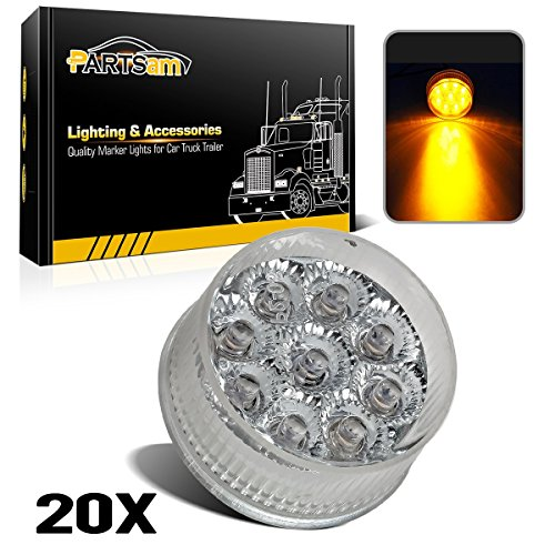 Partsam 20) 2in. Round Side Marker LED Truck Lights Clearance 9 Diodes Reflector Trailer, Sealed Clear/Amber 2 Round LED Trailer Side Marker Lights, Miro-Reflex faceted reflector design