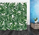 Tropisches dunkelgrünes Palmblatt-Duschvorhang-Badezimmer