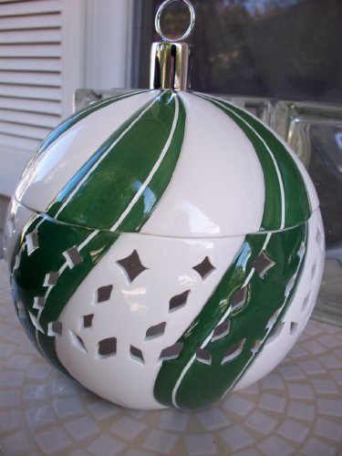 Bath Body Works Slatkin & Co Green and Cream Swirl Luminary Candle Holder for Bath Body Works 4 Oz Candle