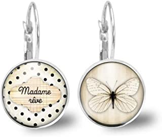 """Orecchini cabochon farfalla, nuvola""""madame rêve"""" - Regalo di Natale per idea regalo moglie - San Valentino - regalo di com..."""