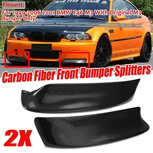 XIANGSHAN 2 Stück E46 Real Carbon Fiber Car Frontstoßstange Splitter Lip Diffuser Spoiler Schutz Schutz for BMW E46 M3 1999-2006
