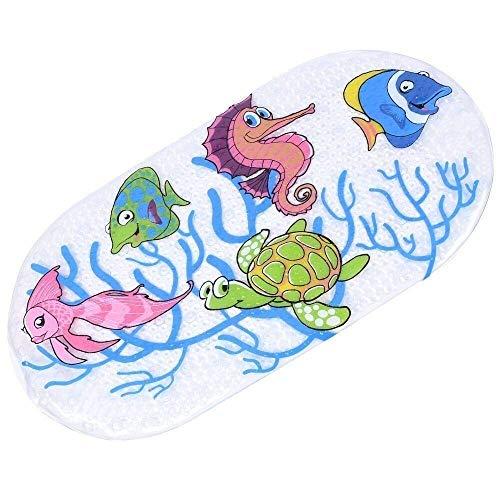 Ruiuzi - Alfombrilla de baño antideslizante de goma de PVC para niños, con ventosa potente, lavable a máquina, antibacteriana (peces tortuga, 27 x 15 pulgadas)
