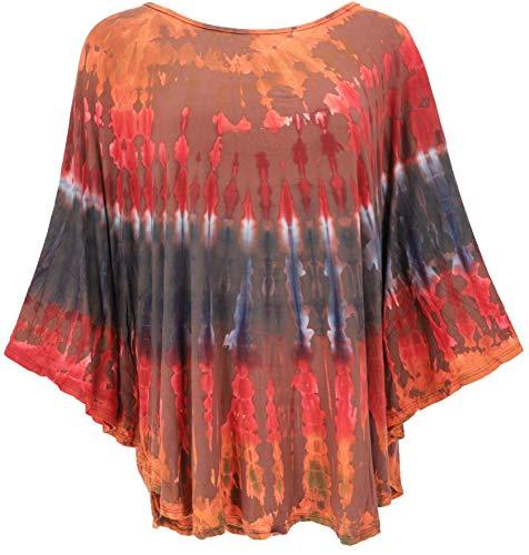 Guru-Shop, Tie Dye Poncho, Tuniek, Boho Caftan, Maxi Blouse, Size:One Size, Blouses Tunieken