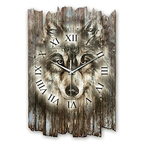 Kreative Feder Wolf Wildnis Shabby Style Designer Wanduhr Funkuhr aus Holz *Made in Germany leise ohne Ticken WH024FL (leises Funkuhrwerk)