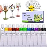 Stained Glass Paint with Palette and brush, 12 Colors Acrylic Paint Set Craft Paints for Glass Wood Metal, Wine Bottle, Ceramic,12Col x 12Ml(0.4 Fl oz)