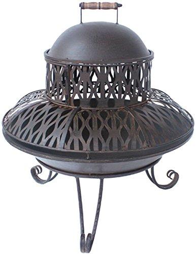 Gartenwelt Riegelsberger Brasero avec pare-étincelles H 60 x Ø 60 cm - Brasero de camp - Couleur rouille foncé laqué 80614