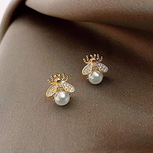 Korean Exquisite Honey Bee Pearl Earrings Fashion Temperament Versatile Small Earrings Elegant Ladies