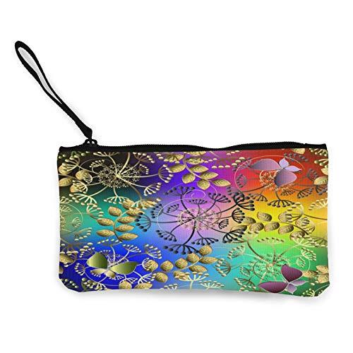 Moneda de lona, colorido colorido monedero con cremallera, bolsa de cosméticos de viaje multifunción para teléfono móvil, bolsa de lápiz con asa
