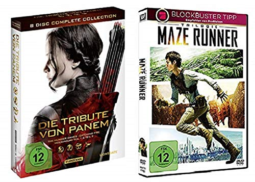 Die Tribute von Panem Komplettbox Complete Collection Alle Teile [8 DVDs] + Maze Runner Trilogie Box Teil 1-3 (1+2+3) Alle 3 Teile [3 DVDs]