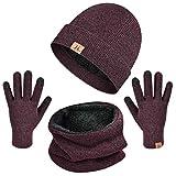 heekpek Bufanda Gorro Guantes para Hombre Invierno Regalos para Hombre Mujer Unisexo Set de Bufanda Conjunto de Guantes de Punto BufaSombrero de Invierno Gorras Con Bufanda (Rojo)