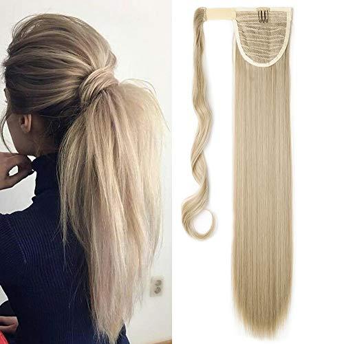 TESS Pferdeschwanz Extensions Ponytail Haarteil Clip in wie Echthaar Haarverlängerung günstig Zopf Extensions Haarteile Glatt 26