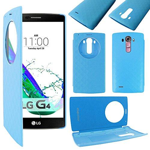 ebestStar - Funda Compatible con LG G4 H815, G4 Dual-LTE Carcasa Billetera Ventana Vista View, Cuero PU Anti choques Case Cover, Azul [Aparato: 149 x 76.2 x 9.8mm, 5.5'']