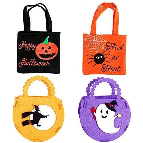 4 Bolsa de dulces de Halloween, Canastas de dulces de Halloween Diy, Bolsas de tela no tejida para Halloween, Bolsa de fieltro para golosinas de Halloween,Truco o trato,Canasta de dulces para galletas