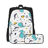Bokueay 2 uds mochila para niños mochila escolar para estudiantes con estuche para lápices mochila para niños, niñas, adolescentes, fanáticos, regalos, dinosaurio espacial