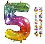 Globo Gigante Multicolor Numero de Cumpleãnos 5 I 101 CM Globo Años I Globo Numero 5 I Decoracion Fiesta Cumpleaños Niños I Globos Numeros Gigantes para Fiestas I Hinchar con helio o aire (Numero 5)