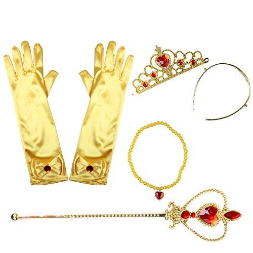 iEFiEL Princesa Disfraz Accesorios Regalo Conjunto de Belleza Corona Sceptre Collar Guantes para Nia Cosplay Carnaval Fiesta de cumpleaos Fiesta de Halloween Amarillo A One_Size