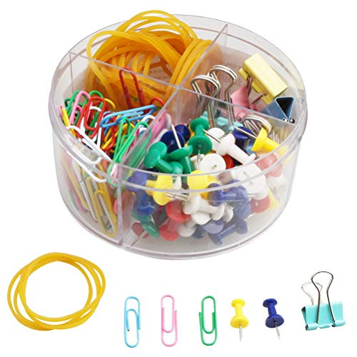 200 PCS Paper Clips Kit, Including 100PCS Paper Clips, 40PCS Rubber Bands,50PCS Push Pins,10PCS Binder Clips Assorted Colors Medium Small Mini Paper Clamps Binder Clips Set with Box for Office