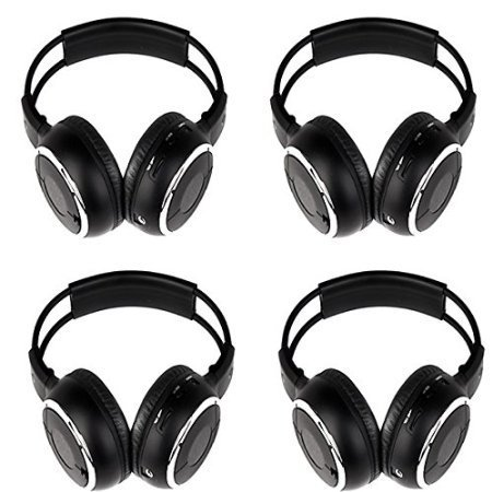 4 Pack of Wireless IR Headband Folding Headset Wireless Headphone Portable with Music Video TV Mp3 DVD CD Player Listening Base LCD FM