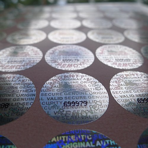 100 Round Bright Silver Hologram Sequentially Numbered Tamper Evident Security Labels/Stickers
