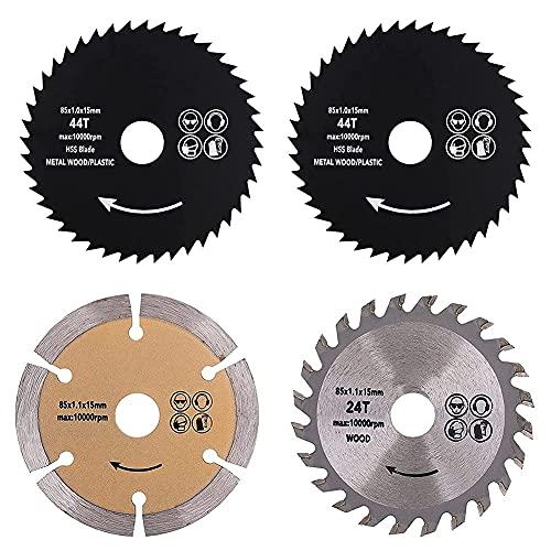 HMHMVM Juego de Hojas de Sierra Circular de 3-3/8 Pulgadas, Paquete de 4 Hojas de Sierra Circular TCT/HSS/Diamante con Punta de carburo de Eje de 15 mm para Herramienta rotativa