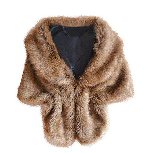 Koly_sciarpa spessore caldo lungo scialle della pelliccia di inverno delle donne (Marrone)