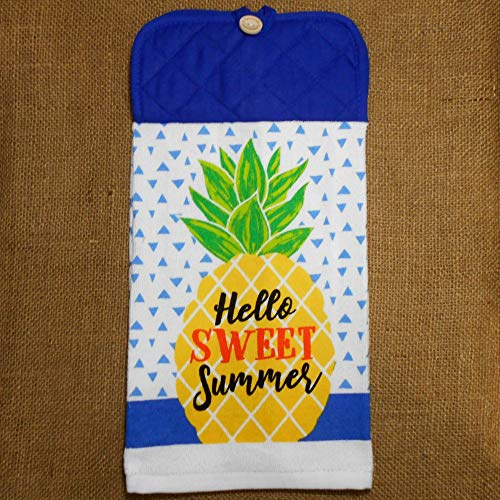 Hello Sweet Summer Hanging Dish Towel, Handcrafted Pineapple Themed Kitchen Decor