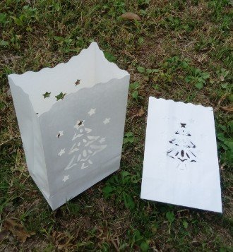 10 Stück Teelicht Kerze Taschen -Weihnachtsbaum Weiße Papiertüten Dekorative Laternen - Mittelstück Kunsthandwerk Dekorationen - Mit Teelichter Verwenden (Normal oder LED) - Rustikale Dekoration