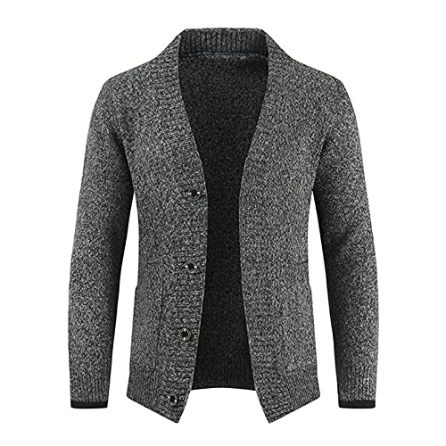 Men's Warm Shawl Collar Cardigan Sweater Casual Long Sleeve Slim Fit Knitted Sweater Tops with Pockets