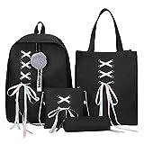Cobeky 4 unids/set cinta cadena bowknot carta lona mochila viaje mochilas ocio para adolescentes niñas escuela bolsa negro, color Negro, talla Talla Unica